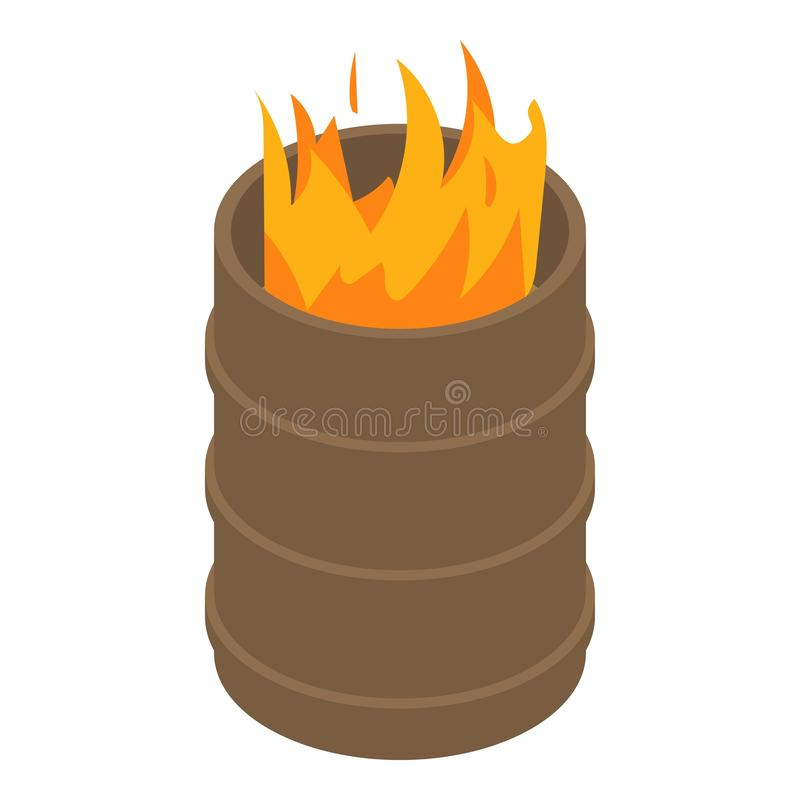Fire burning in barrel icon, isometric style royalty free illustration