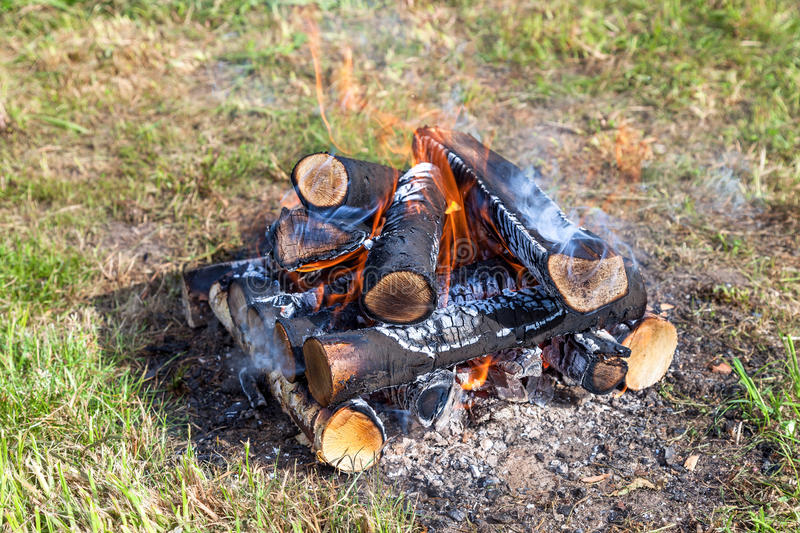 Download Fire burning in a campfire stock photo. Image of demolished - 39505820