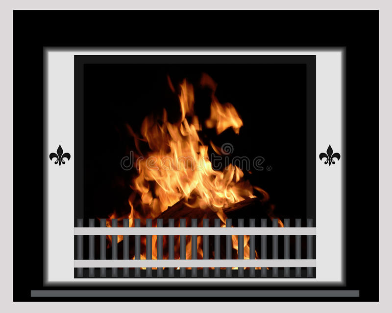 Fire Burning in Chrome Fireplace stock illustration