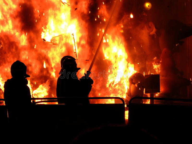 Fire with burning figures during the Las Fallas festival in Valencia, Spain stock photo
