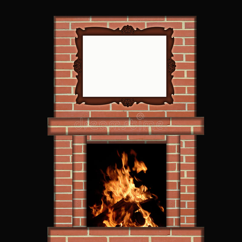 Fire Burning in Fireplace with Picture Frame royalty free illustration