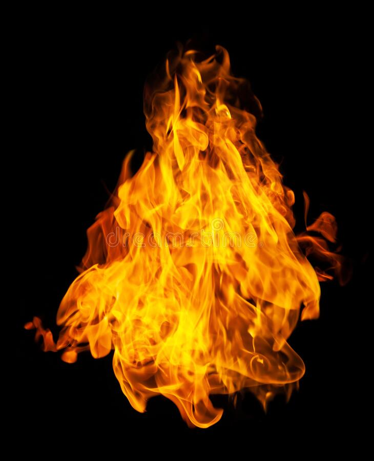 Fire and burning flame isolated on dark background for graphic design. Purpose royalty free stock image