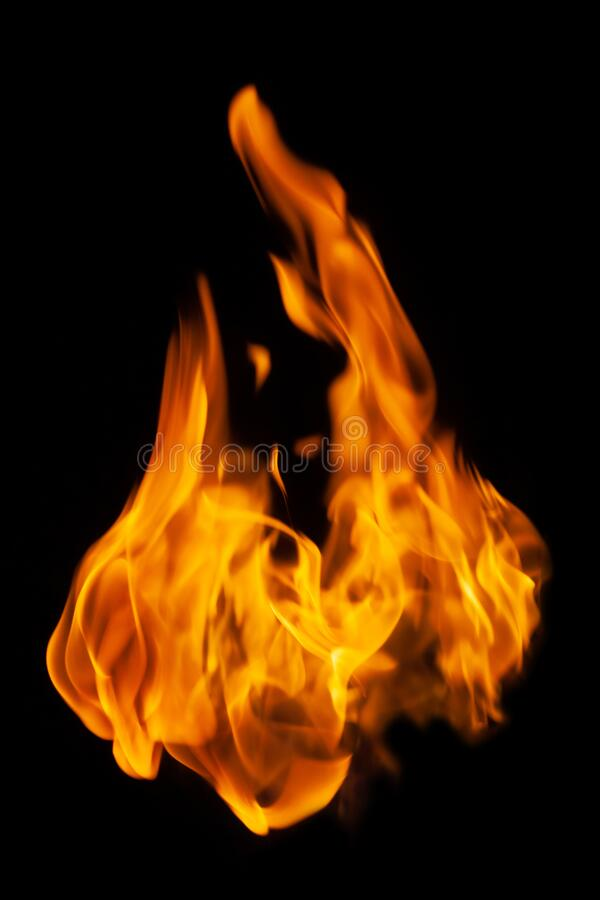 Fire and burning flame isolated on dark background for graphic design. Purpose royalty free stock photos