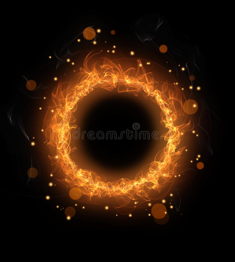Fire burning round with sparks stock illustration