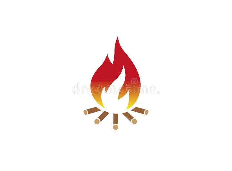 Fire burning wood campfire for logo design stock illustration
