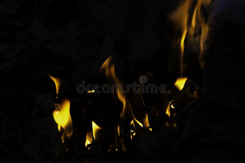 A fire that burns on the garbage royalty free stock photo