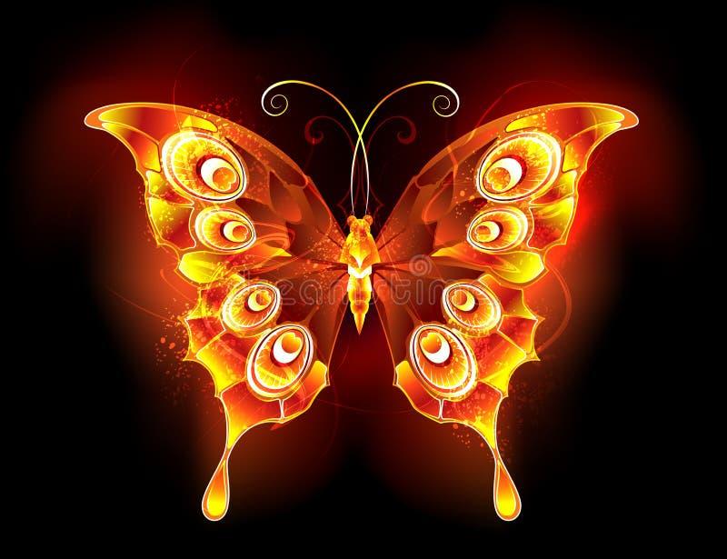 Fire butterfly peacock Fiery butterfly. Fiery, bright butterfly peacock on black background. Fire butterfly. Abstract stock illustration