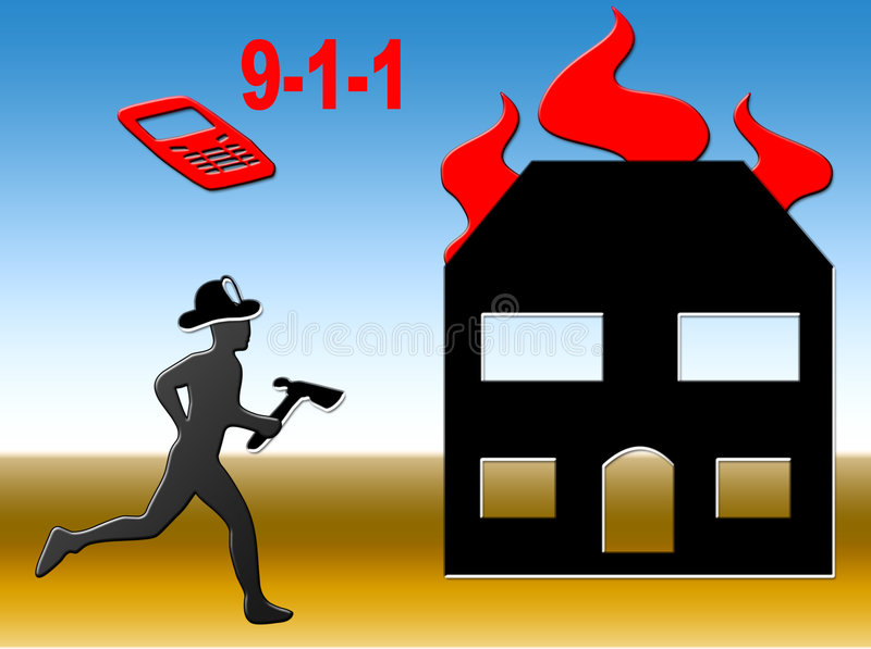 Fire Call. Graphic showing a fire fighter responding to a house fire royalty free illustration