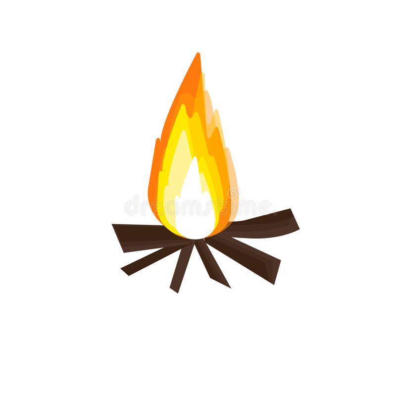 Fire campfire and picnic icon. Orange fire campfire and picnic icon vector illustration