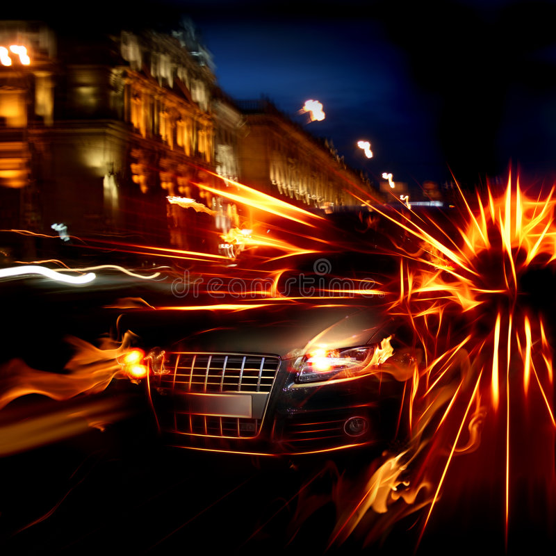 Fire car stock illustration