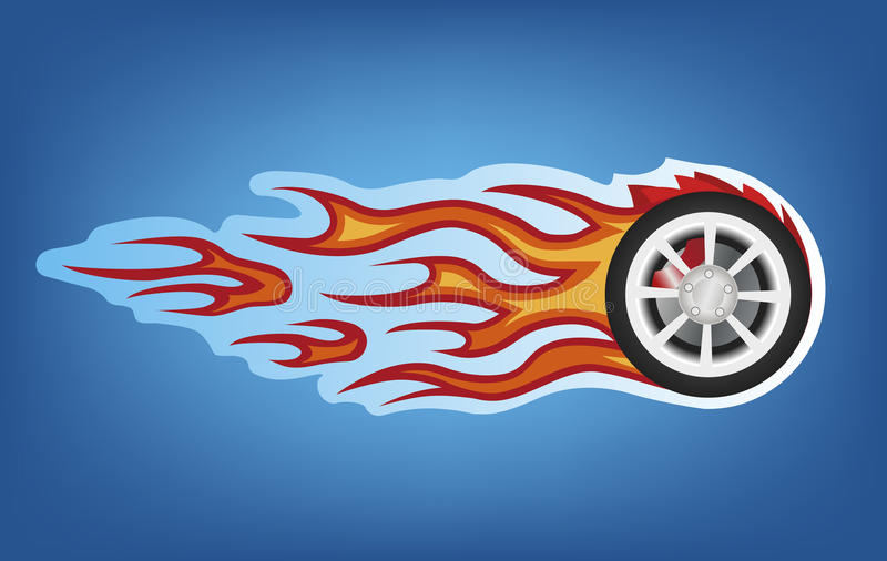 Fire car sign. Vector red flames tunning car style on blue royalty free illustration