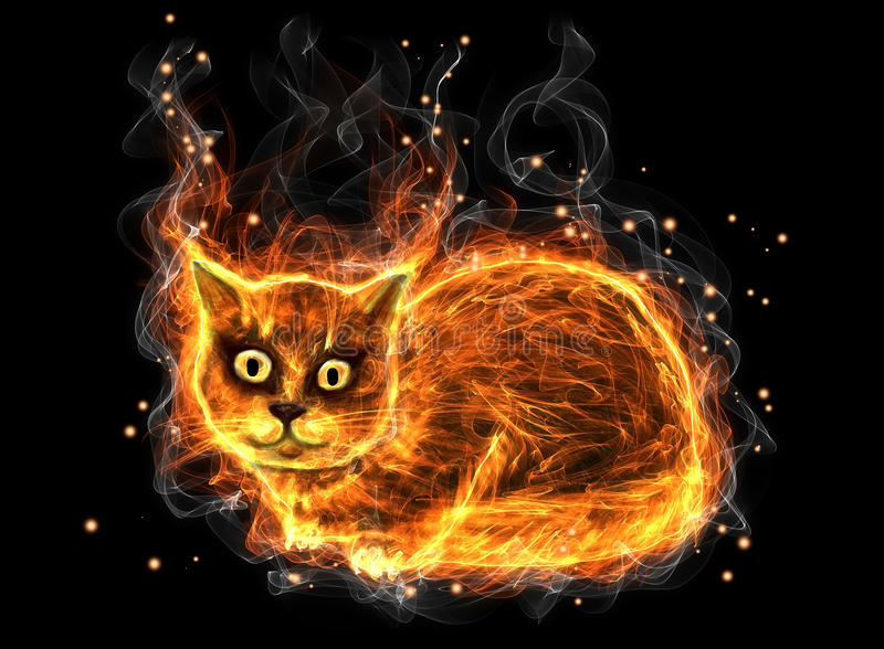 Fire cat royalty free illustration