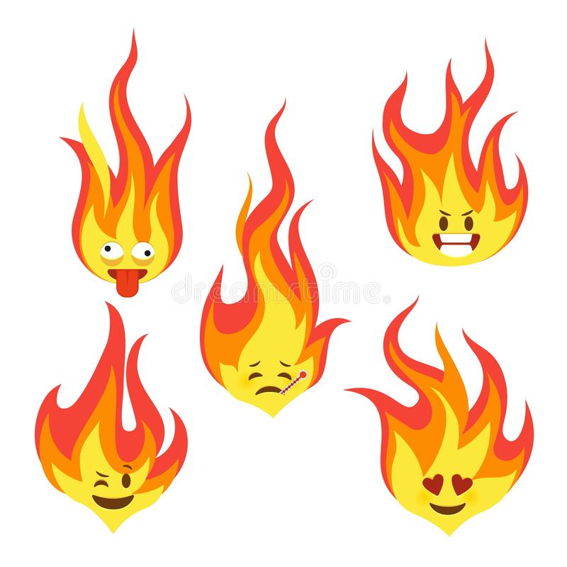 Fire character icons. Hot flame cute emoji with angry and smiles happy characters comic style vector set royalty free illustration