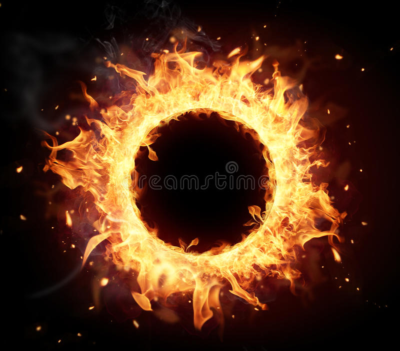 Fire circle. With free space for text. isolated on black background