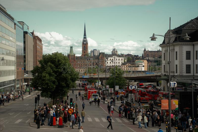 Fire in the city. The threat of fire in the city train station Stockholm stock image