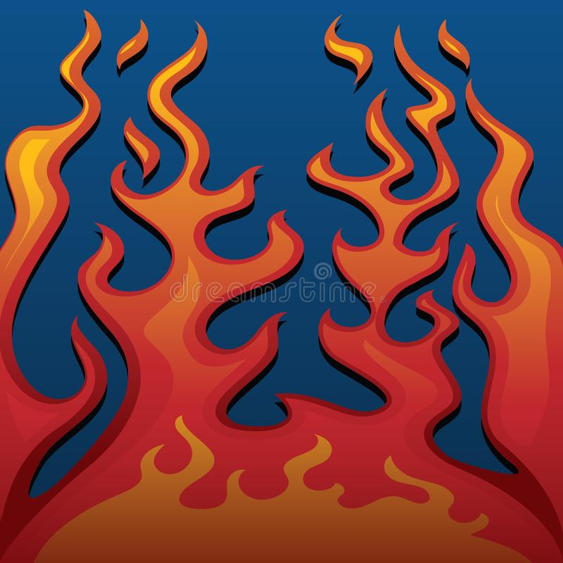 Fire Classic Style Flames on Blue Background Vector Illustration stock photo