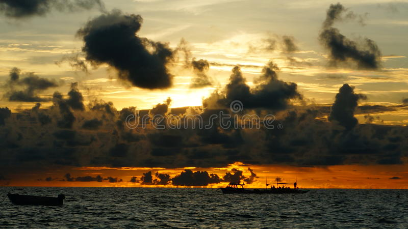Fire cloud in the sea stock photo