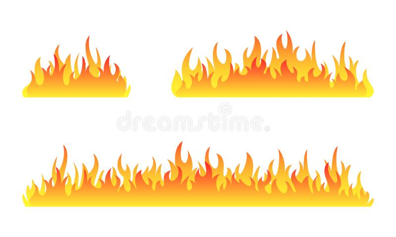Fire collection. Fire flames vector set. Set of fire banner. Vector illustration. royalty free illustration
