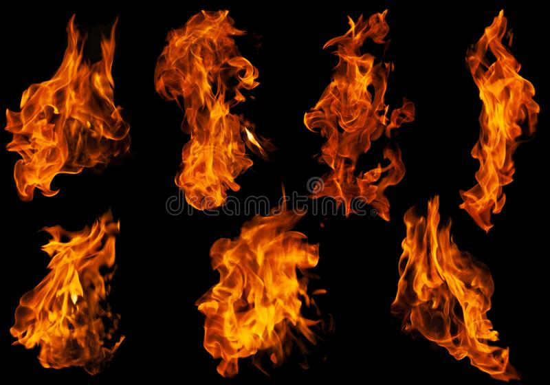 Fire collection set of flame burning isolated on dark background for graphic design purpose. Fire collection set of flame burning isolated on dark background for royalty free stock photo