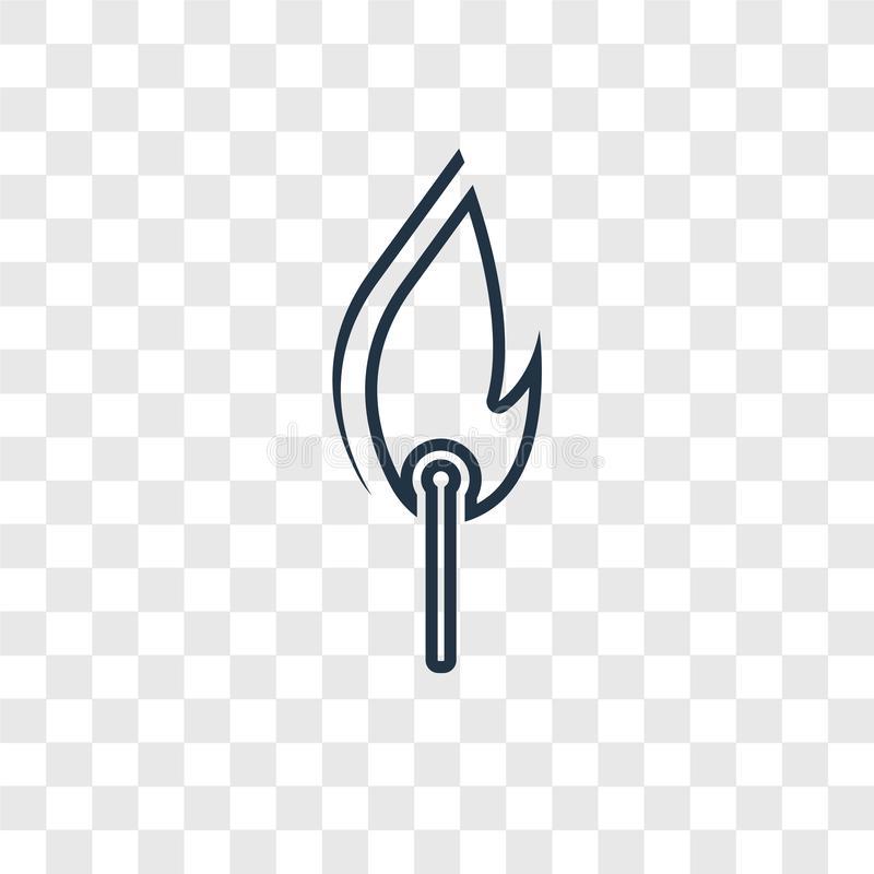 Fire concept vector linear icon isolated on transparent background, Fire concept transparency logo in outline style. Fire concept vector linear icon isolated on royalty free illustration