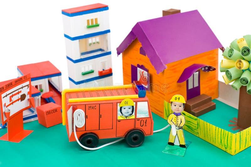 Fire Control, Kid S Cardboard Handicraft Royalty Free Stock Photos