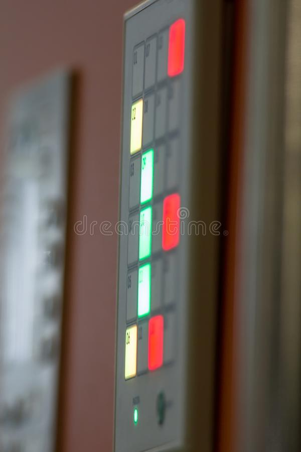 Fire control panel - mange of security on plastics products plant, close up, vertical. View royalty free stock images