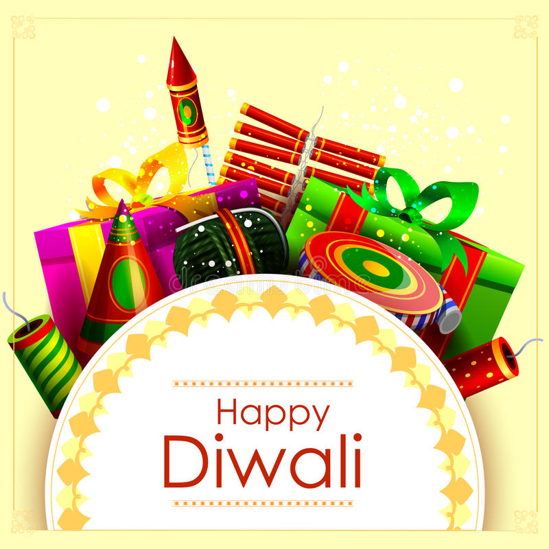 Fire cracker with gift for Happy Diwali holiday background stock illustration