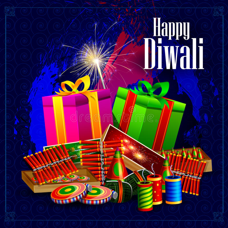 Fire cracker with gift for Happy Diwali holiday background vector illustration