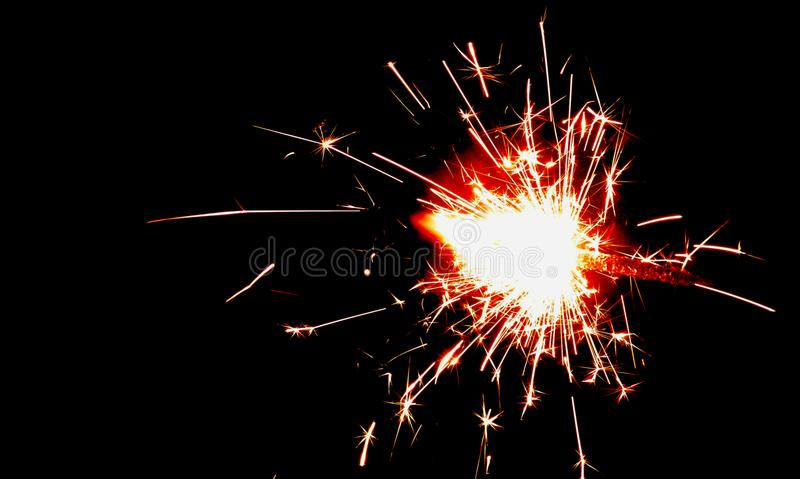 Fire Cracker Spark in Night Time Photography royalty free stock images