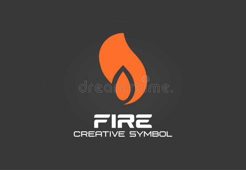 Fire creative symbol concept. Energy flame blaze abstract business logo. Flash gas ignite, smoke hot air shape, black vector illustration