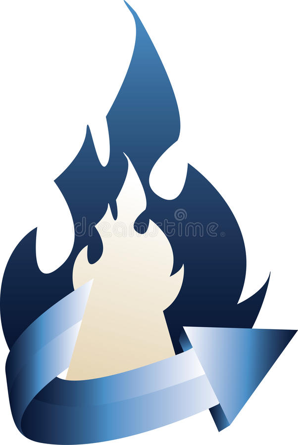 Download Fire With Curved Blue Arrow Stock Photo - Image: 39151668