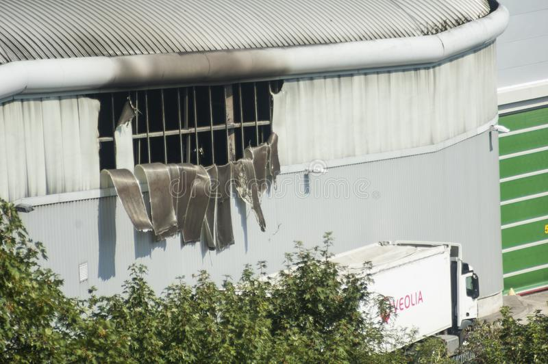 Fire Damage to Veolia Building. Extensive fire damage to the Veolia Materials Recovery Facility at Hollingdean, Brighton & Hove, UK - August 27th 2019. The fire royalty free stock photo
