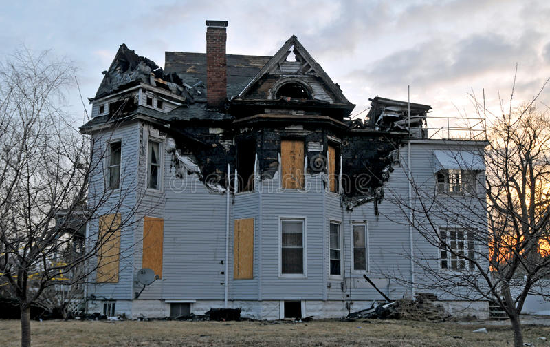 Fire damage on a victorian home stock photo
