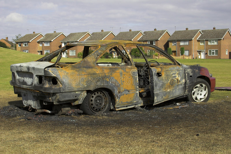 Fire Damaged Car stock images