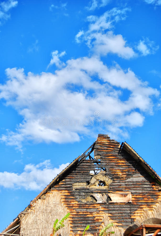 Fire Damaged Gable End Stock Photo