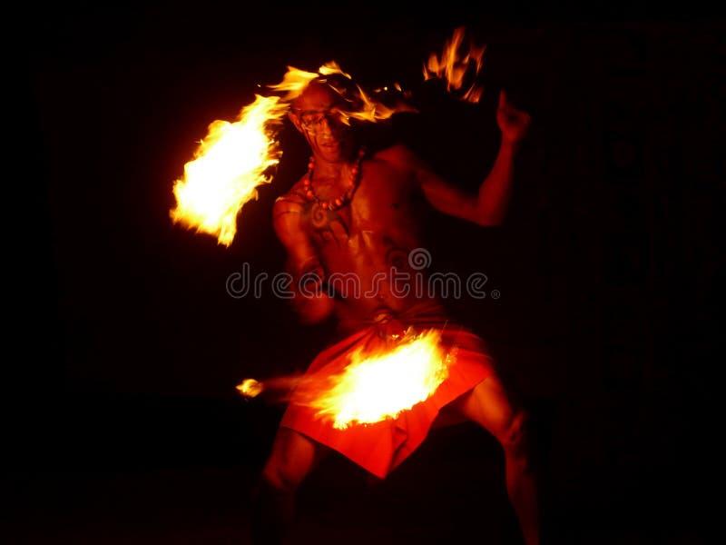 Fire dance man in Fiji royalty free stock image