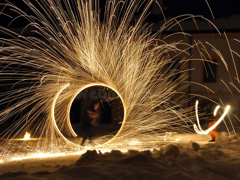 Download Fire dancers stock image. Image of sensation, night, special - 17805585