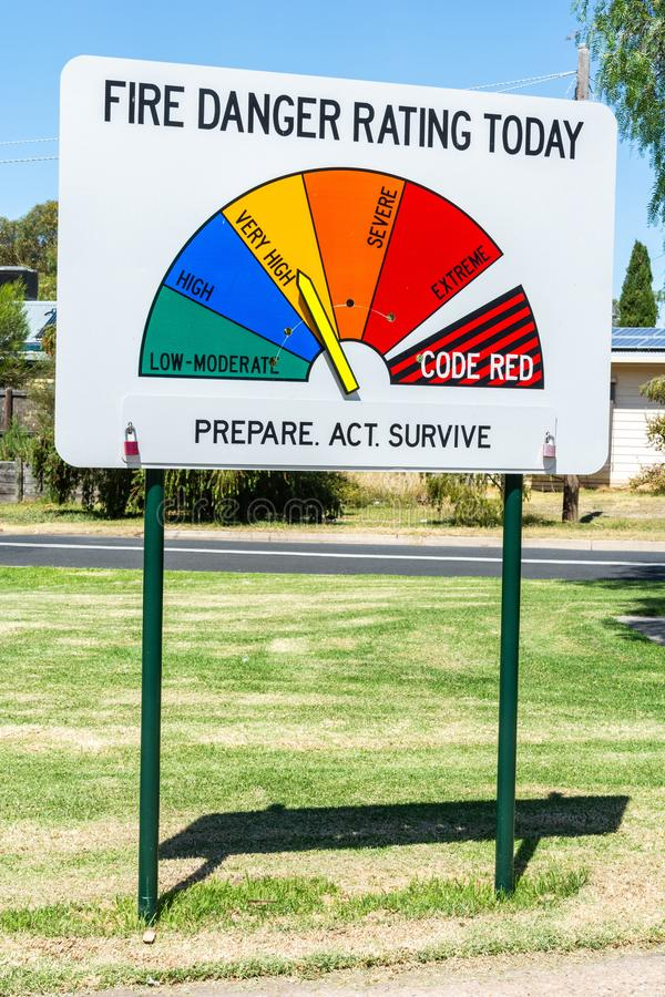 Fire danger rating sign in Australia. Fire danger rating sign in Victoria, Australia royalty free stock photos
