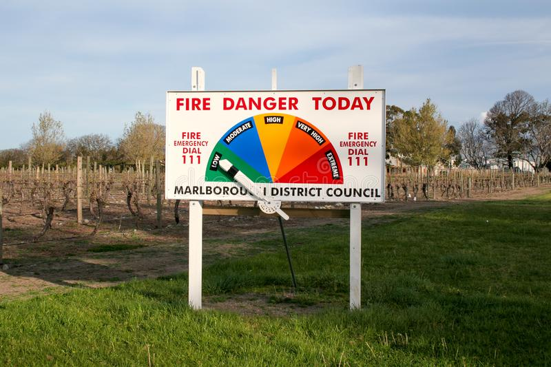 Fire Danger warning sign along the road in New Zealand stock photo