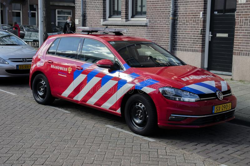 Fire Deparment Car At Amsterdam The Netherlands 2019 stock image