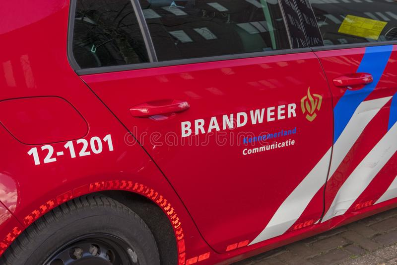 Fire Deparment Car At Amsterdam The Netherlands 2019 stock images