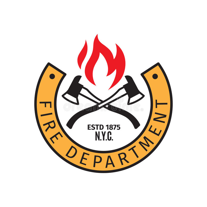 Fire department badge with axes royalty free illustration