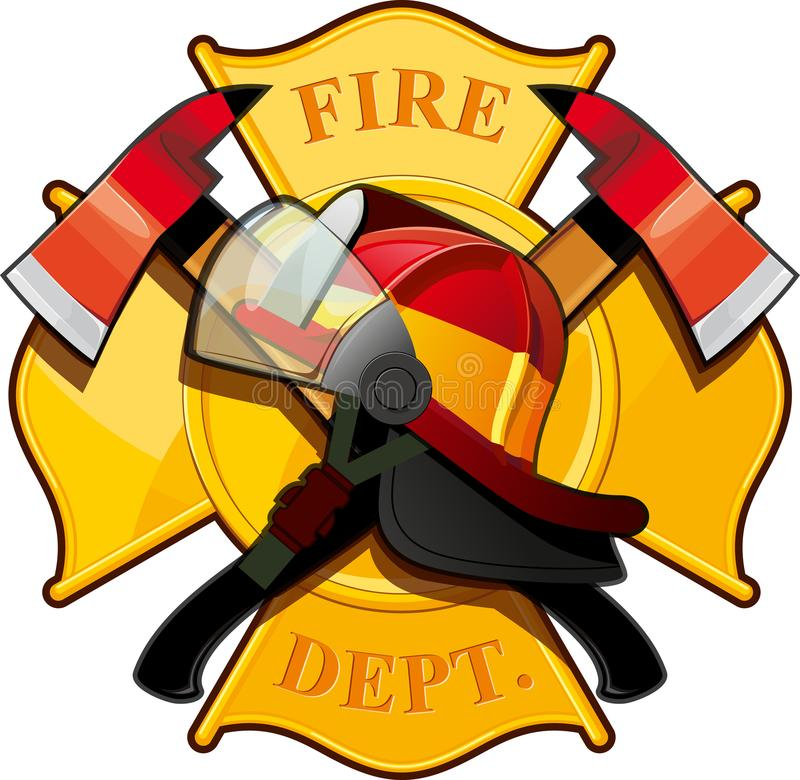 Fire department badge. With crossed axes, fire helmet against the yellow Maltese cross stock illustration