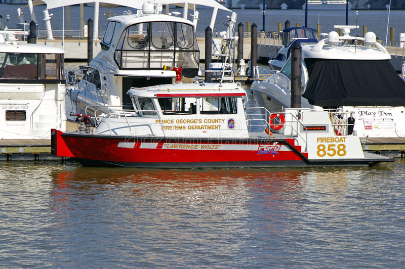 Fire Department Boat Docked in National Harbor royalty free stock photos