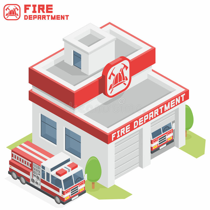 Fire Department building. Vector isometric fire department building icon stock illustration