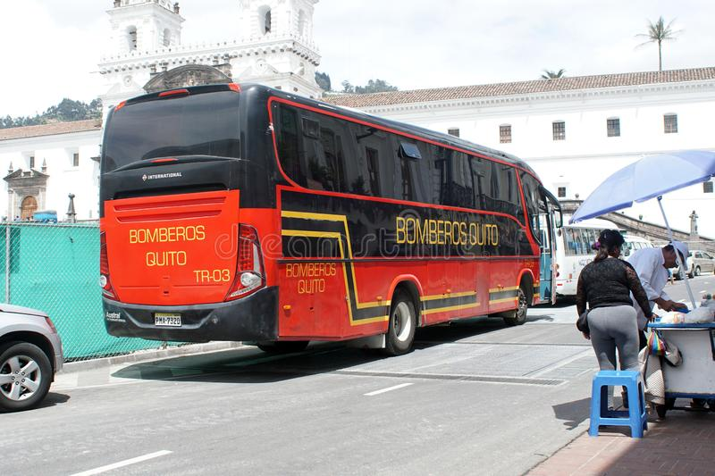 Firefighters bus in Quito royalty free stock photos