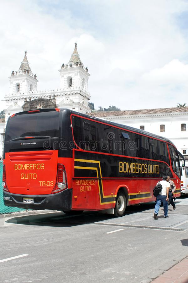 Firefighters bus in Quito royalty free stock images
