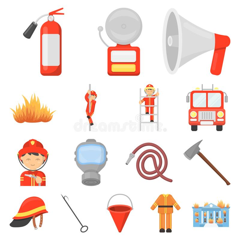 Fire Department cartoon icons in set collection for design. Firefighters and equipment vector symbol stock web stock illustration