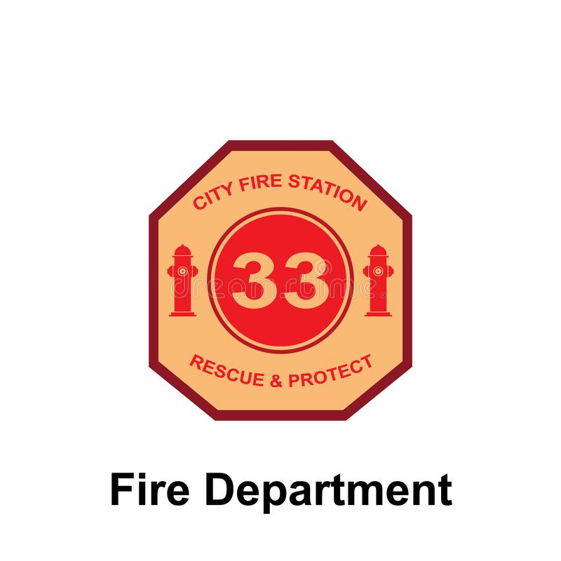 Fire Department, 33, City Fire Station icon. Element of color fire department sign icon. Premium quality graphic design icon. Signs and symbols collection icon royalty free illustration