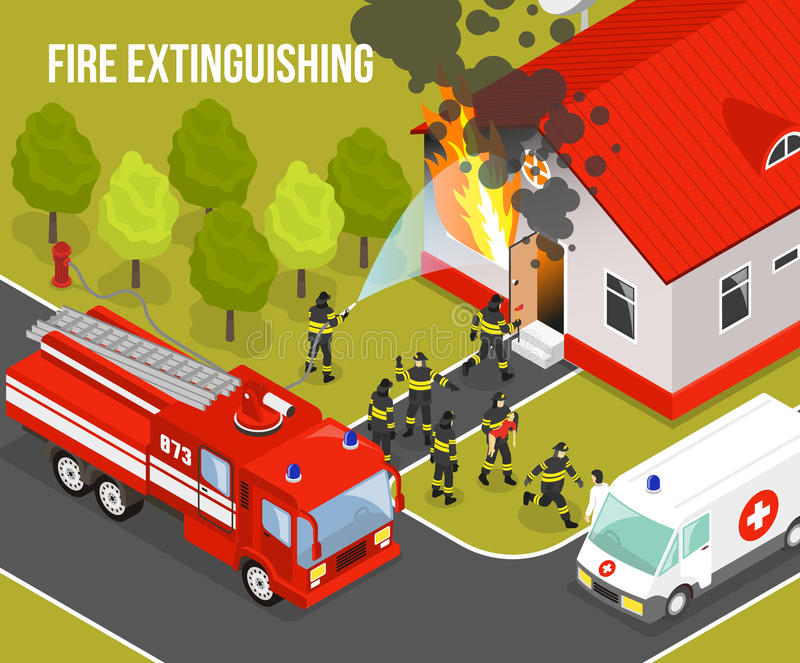 Fire Department Composition. Colored fire department composition with situation fire extinguishing an apartment building and headline vector illustration vector illustration
